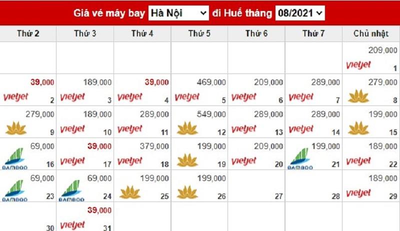 Giá vé máy bay chặng Hà Nội đi Huế tháng 8 năm 2021