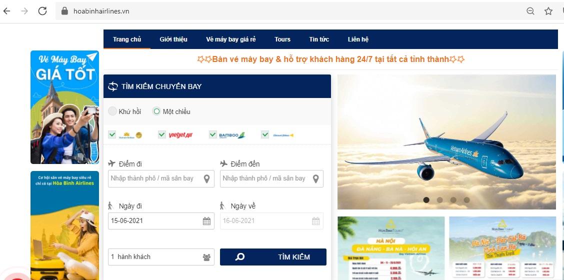 Giao diện đặt vé máy bay tại website HoaBinhAirlines