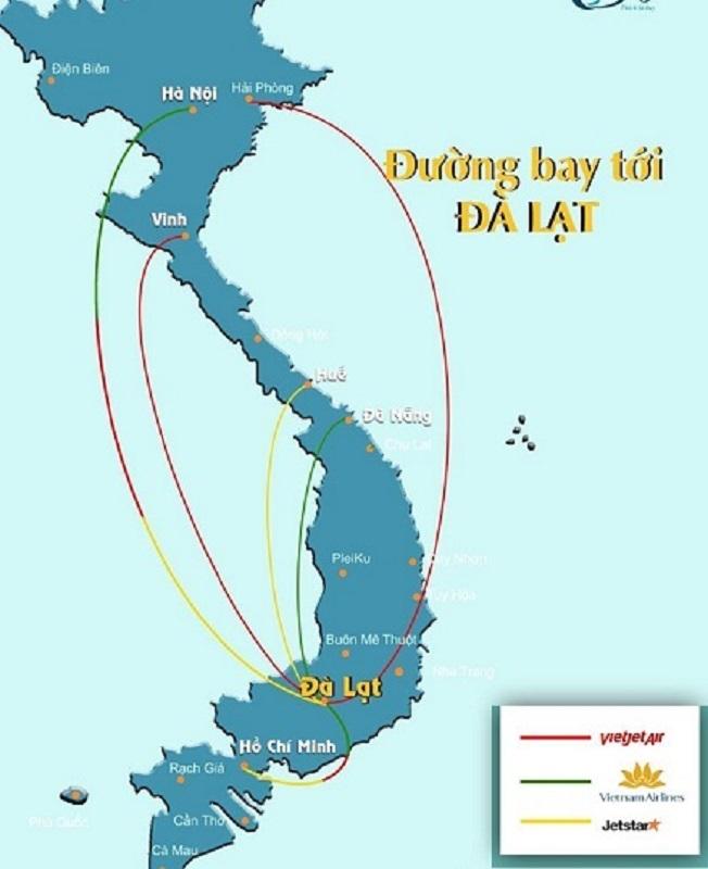 Các đường bay đến Đà Lạt