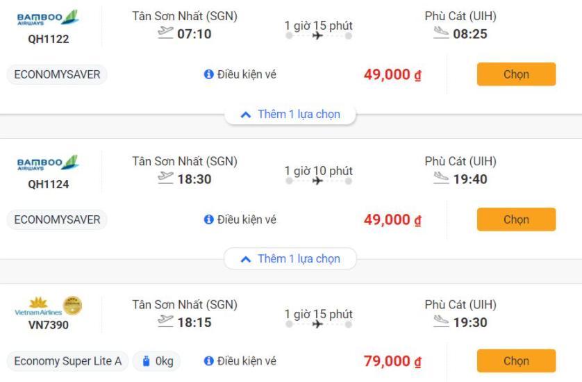Săn vé máy bay giá rẻ từ HCM đến Quy Nhơn