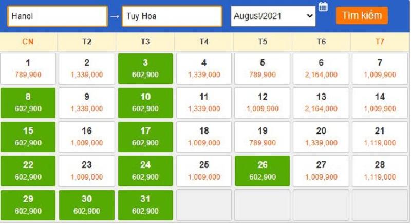 Giá vé tham khảo vào tháng 8/2021 đi Tuy Hòa