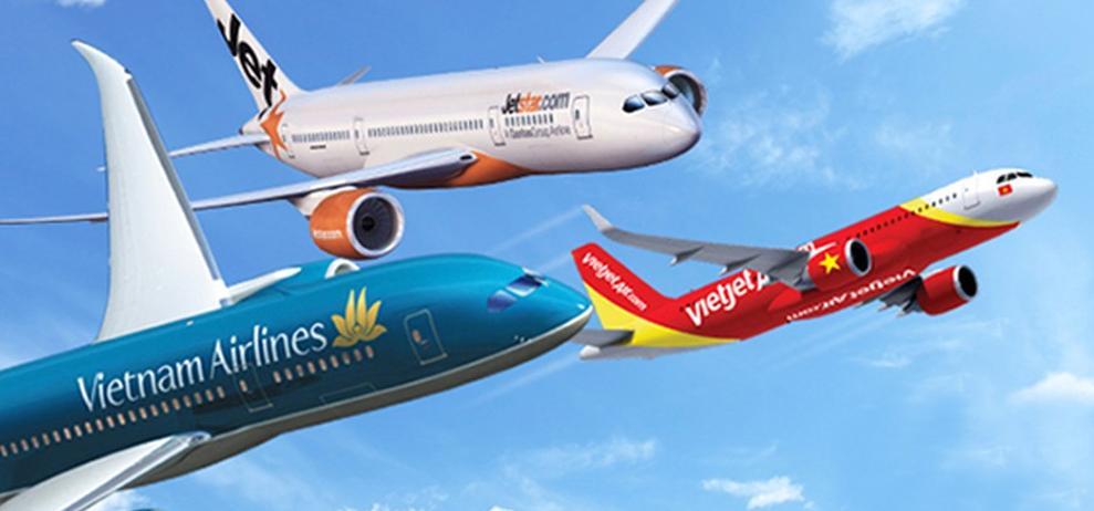 3 hãng hàng không nội địa tại Việt Nam là Vietnam Airlines, Jetstar Pacific và Vietjet Air