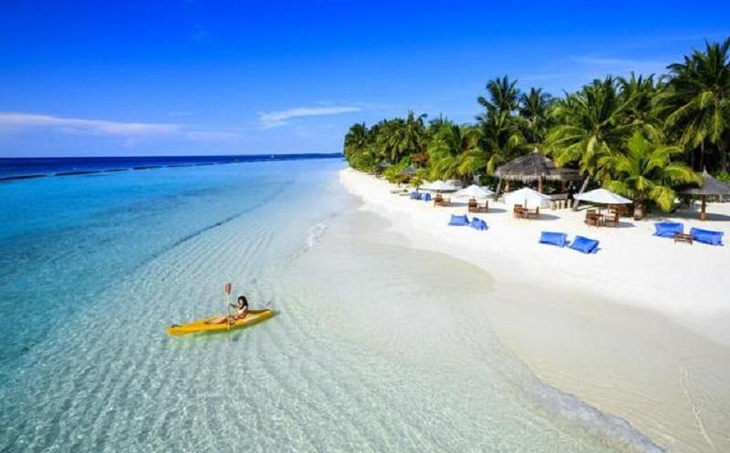 Bãi biển Phú Quốc xanh rì xinh đẹp, với bờ cát trắng mịn và những rặng dừa cao vút