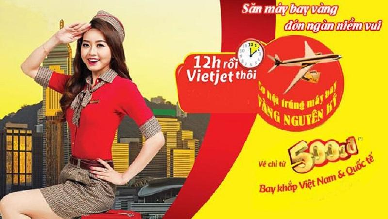 """Chương trinh khuyến mãi """"12h rồi, Vietjet thôi"""" của hãng hàng không Vietjet Air"""